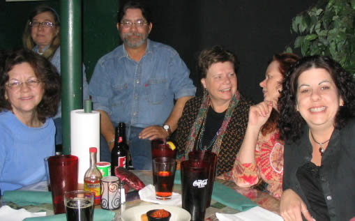 Mary Buckley hanging out with the gang at the Mardi Gras Pre-party